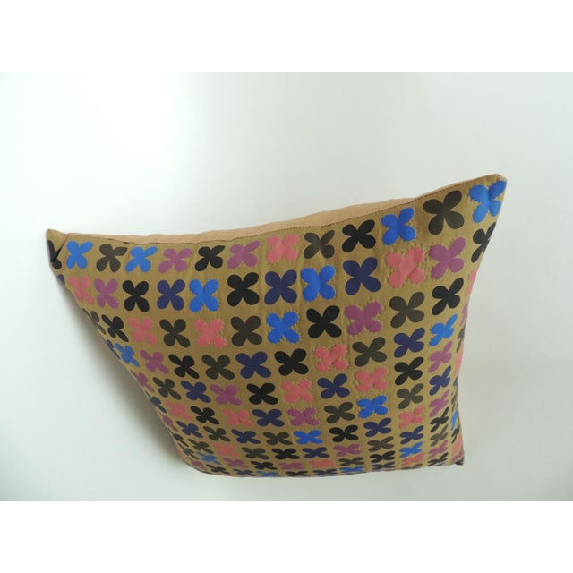 """Early 21st Century Quilted Cotton Red and Blue """"Osaka"""" Decorative Pillow For Sale - Image 5 of 6"""