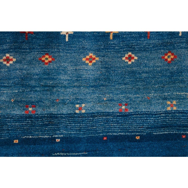 Islamic Blue Persian Gabbeh Rug - 2′11″ × 9′7″ For Sale - Image 3 of 8