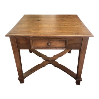 Antique 1900 Continental Heart Pine Work Table For Sale