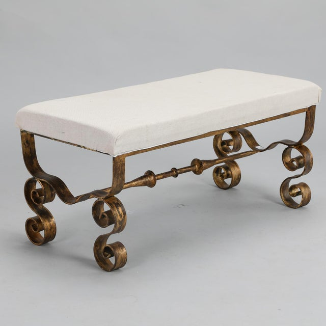 Upholstered Bench with Scrolled Gilt Metal Legs - Image 2 of 8