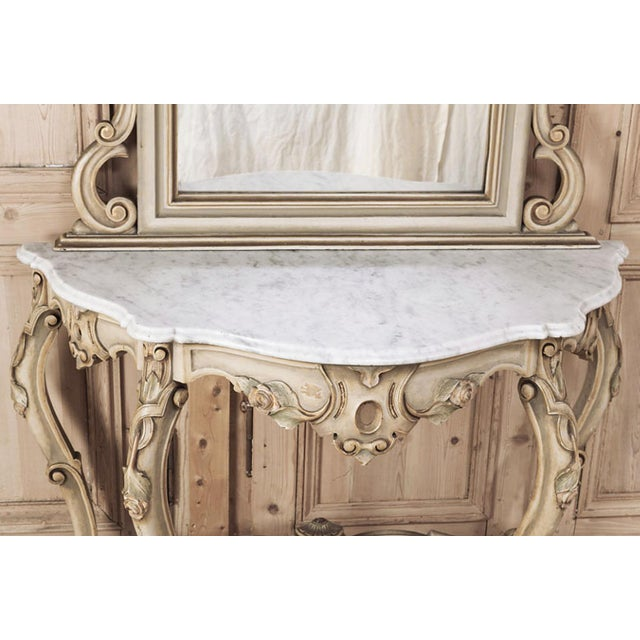 Wood 19th Century Italian Hand Painted Console and Mirror With Cararra Marble For Sale - Image 7 of 13