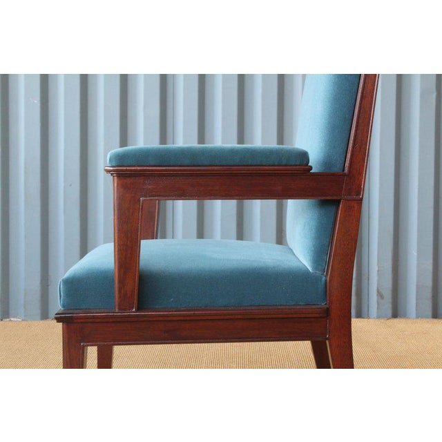 1920s Mahogany Armchair in Velvet, France, 1940s. Set of Four Available. For Sale - Image 5 of 12