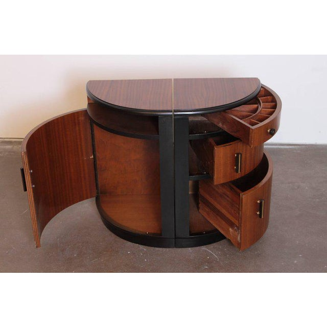 Pair of Art Deco Half Demilune Ribbon Mahogany Corner Occasional Tables For Sale - Image 4 of 11
