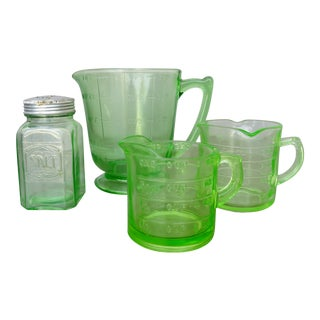 Early 20th Century Vaseline Glass Kitchen Accessories - Set of 4 For Sale