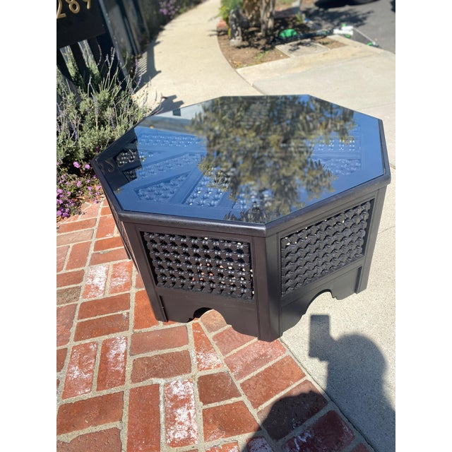 Refurbished Vintage Moroccan Octagonal Coffee Table With Glass Top For Sale In Los Angeles - Image 6 of 8