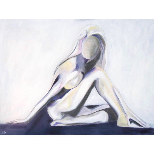 """Lilac Lady""- is a 30"" x 40"" x 1.5"" original acrylic figurative painting on a professional gallery wrapped canvas. Sides..."