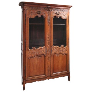 18th C. French Carved Walnut Vitrine For Sale