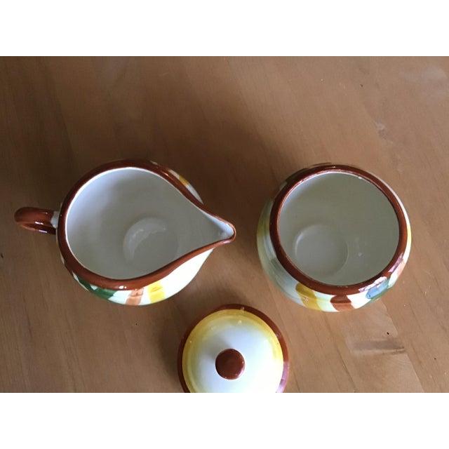 "Mid-Century Modern 1950s Vernon Kilns Vernonware ""Homespun"" Sugar Bowl and Creamer - a Pair For Sale - Image 3 of 7"