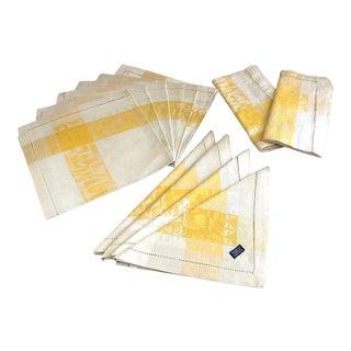 Vintage Damask Linen Napkins - Set of 12 For Sale