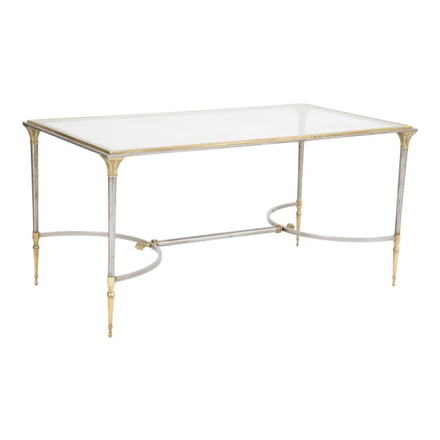 Maison Charles Steel & Bronze Glass Top Coffee Table For Sale