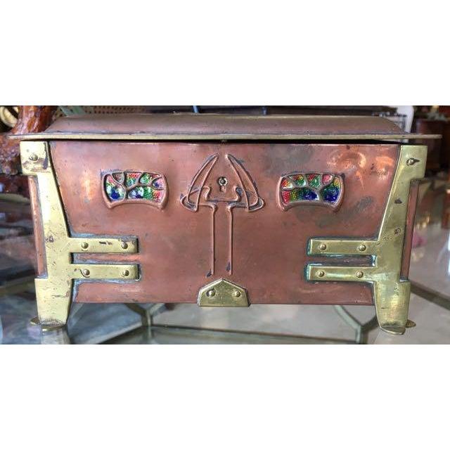 Art Nouveau Vienna Secessionist Copper Trinket Box For Sale - Image 3 of 11