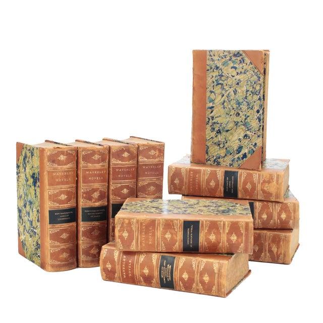 English Leather Bound Books, Scott Waverly Novels Circa 1880s, Set of 10 For Sale - Image 9 of 9