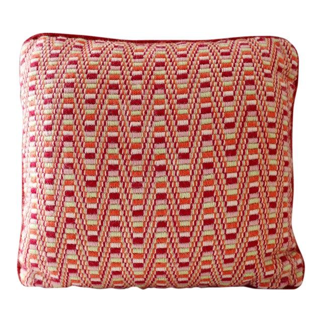 Vintage Red Geometric Needlepoint Pillow Zig Zag Pink Orange Green Mid Century For Sale