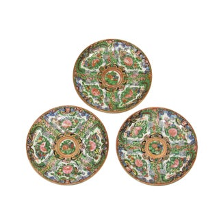 1950s Chinese Rose Canton Plates - Set of 3 For Sale