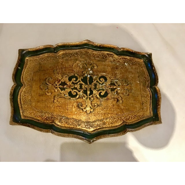 Italian Florentine Kelly Green Tray For Sale - Image 3 of 3