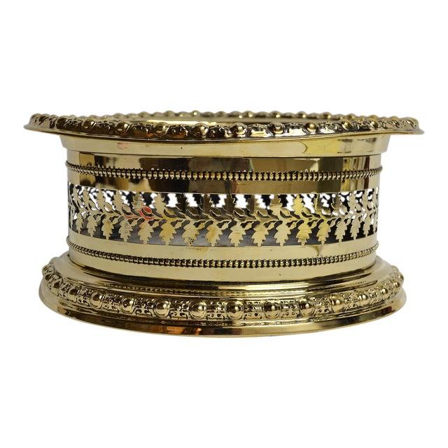 Antique English Brass Openwork Jardiniere For Sale