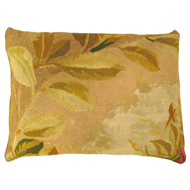 Antique French Aubusson Carpet Pillow For Sale