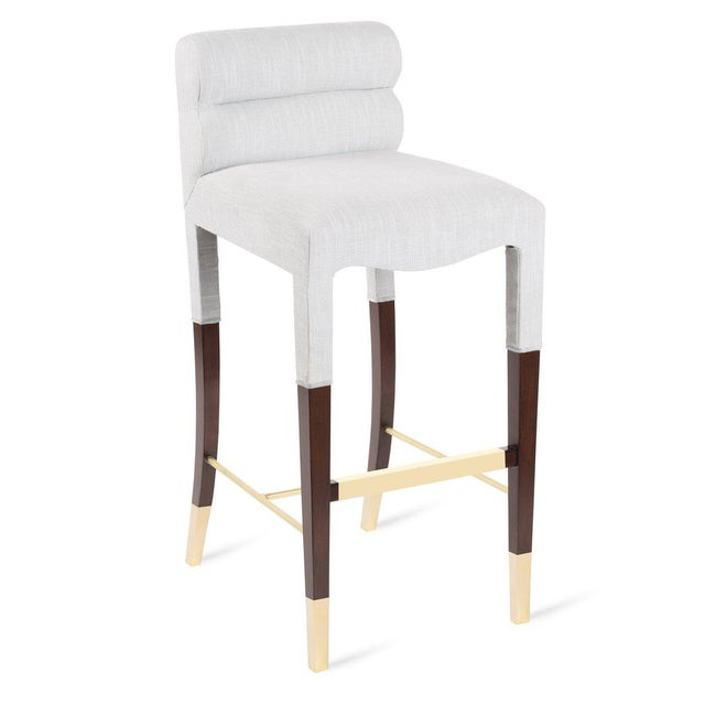 Not Yet Made - Made To Order Gardner Bar Stool in White Linen For Sale - Image 5 of 5