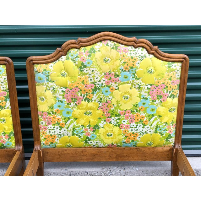 French Vintage Upholstered Twin Bed Frames - a Pair For Sale - Image 3 of 13