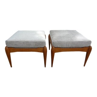 Italian Gio Ponti Inspired Mid-Century Walnut Benches or Ottomans - a Pair For Sale