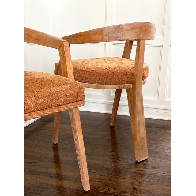 A pair of beautiful mid-century modern cerused oak French dining or accent chairs. Wood is in excellent condition and...