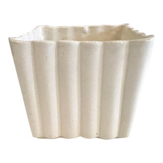 Faux Bamboo White Ceramic Cachepot For Sale