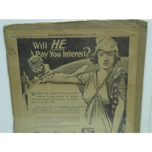 American Vintage World War I War Bond Advertisement Newspaper Poster For Sale - Image 3 of 4