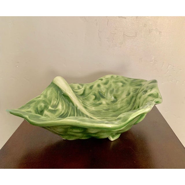 Early 21st Century Vintage Green Ceramic Cabbage Leaf Bowl, Candy Dish For Sale - Image 5 of 5
