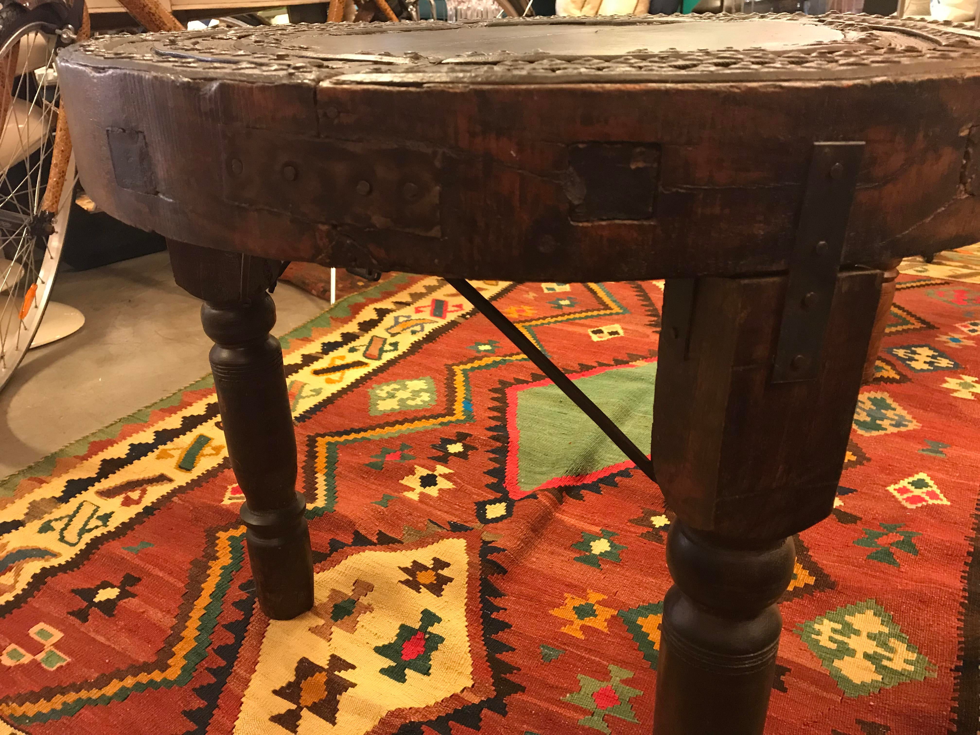 Antique Indonesian Wagon Wheel, Made Into A Side Table, Large For Sale In  Miami