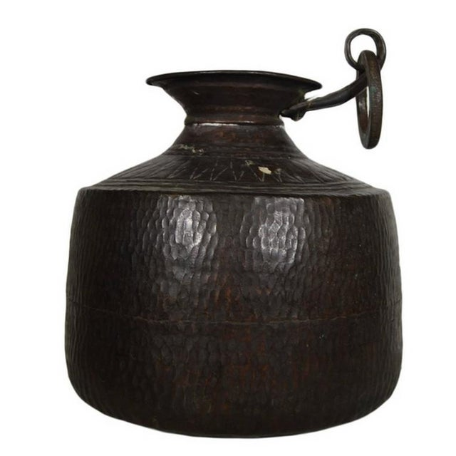 Anglo-Indian Vintage Indian Hand-Hammered Copper Jug with Carvings, Early 20th Century For Sale - Image 3 of 8