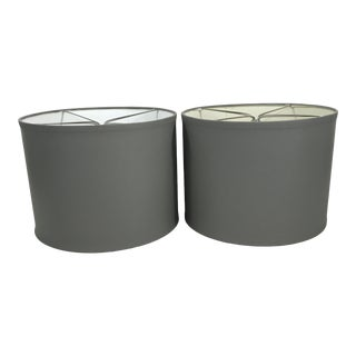 Gray Painted Drum Lampshades - a Pair For Sale