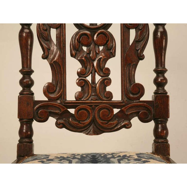 Mid 19th Century Antique French Hand Carved Needlepoint Seat Side Chair For Sale - Image 5 of 10