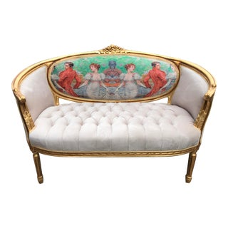 1900's Green Cartouche and Gold Frame French Louis XVI Sofa For Sale