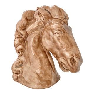 Vintage Equestrian Glazed Ceramic Horse Head Bust Signed For Sale