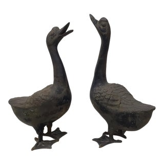 Pair of 20th Century Cast Iron Geese Sculptures For Sale