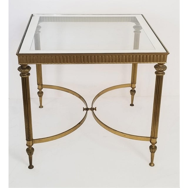 Vintage Italian Mid Century Modern Brass Mirror Glass End Side Table For Sale - Image 4 of 12