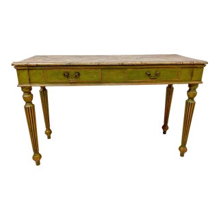 Italian Faux Marble Console Table For Sale