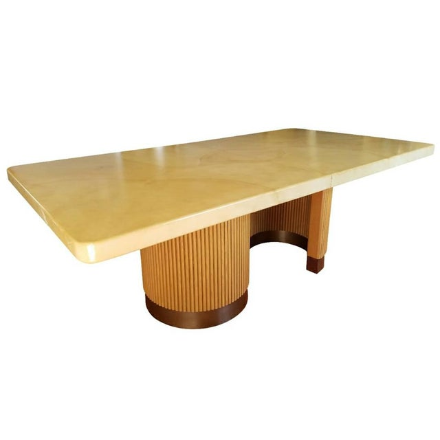 Spectacular large dining or conference table attributed to legendary designer Steve Chase. Clear coat lacquer on what...