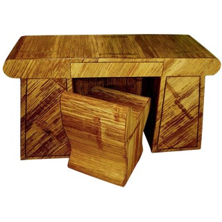 Unusual and Rare Bamboo Veneered Oak Desk and Chair For Sale
