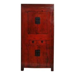 Antique Chinese Red Lacquer Cabinet For Sale