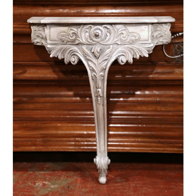 Early 20th Century Early 20th Century French Louis XV Carved Painted Wall Hanging Console For Sale - Image 5 of 8