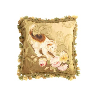 """Traditional Pasargad DC Rose & Kitty Needlepoint Pillow - 18"""" X 22"""" For Sale"""