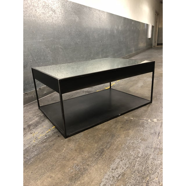 Glass Restoration Hardware Gramercy Narrow Coffee Table With Drawers For Sale - Image 7 of 10