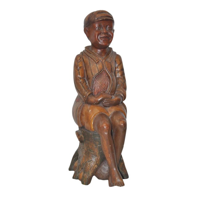 19th Century American Folk Art Hand Carved Seated Boy - Image 1 of 5