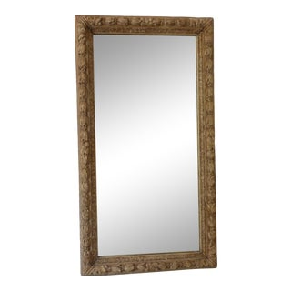 18th Century French Carved Oak Weathered Finish Mirror For Sale