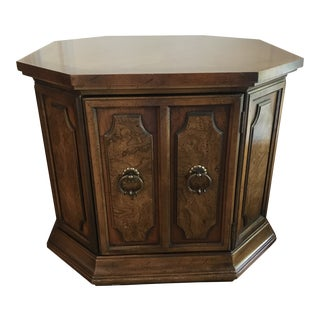 Transitional Octagonal Accent Cabinet Table With Brass Hardware For Sale