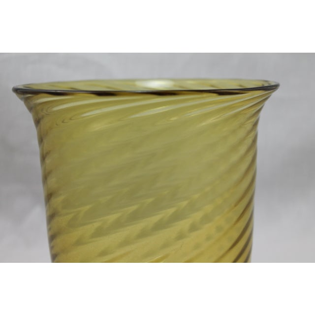 Steuben Glass Stunning Art Deco Steuben Glassworks Amber Colored Swirl Vase For Sale - Image 4 of 9
