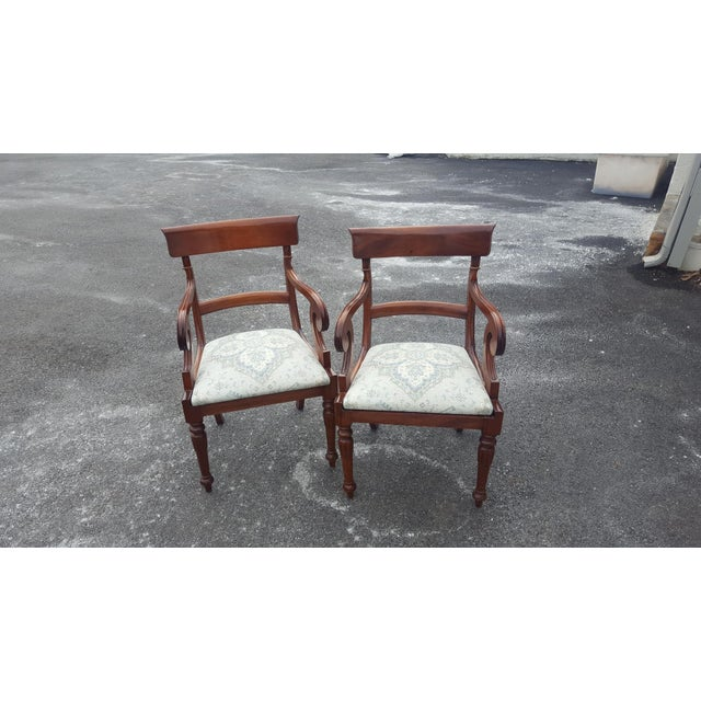 Traditional Wood Arm Chairs - A Pair - Image 2 of 7