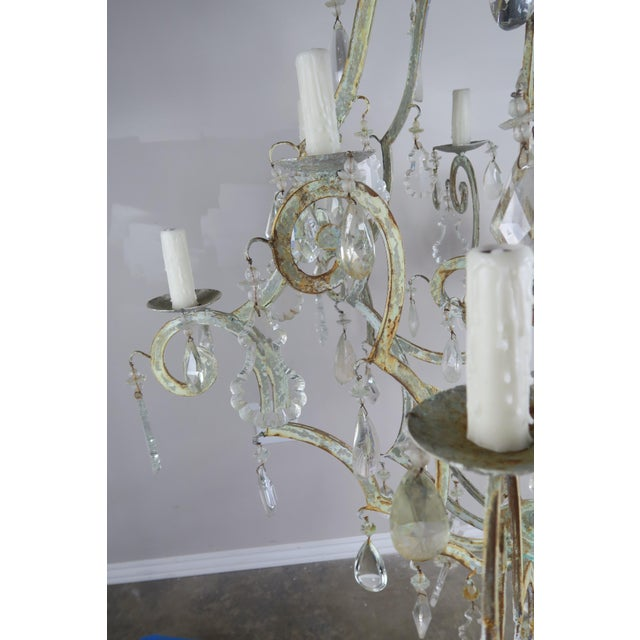 Monumental Painted Wrought Iron Crystal Chandelier For Sale - Image 9 of 11