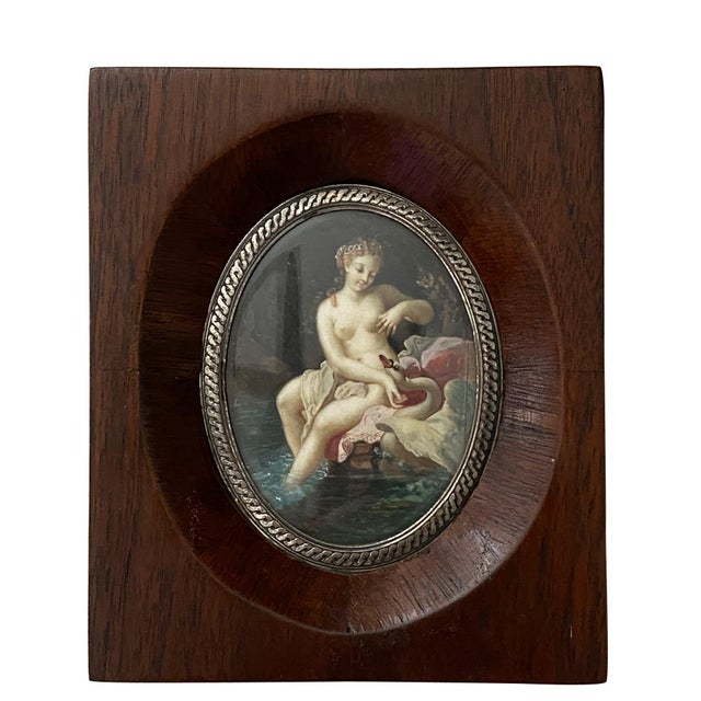 """Late 19th Century 19th Century """"Lida and the Swan"""" Miniature Painting, Framed For Sale - Image 5 of 5"""